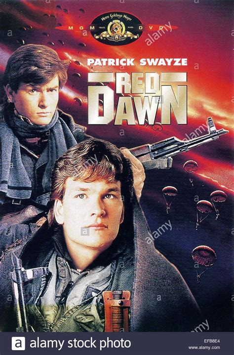 CHARLIE SHEEN, PATRICK SWAYZE POSTER, RED DAWN, 1984 Stock