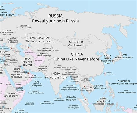 Every Country's Tourism Slogan Revealed On A Single Map