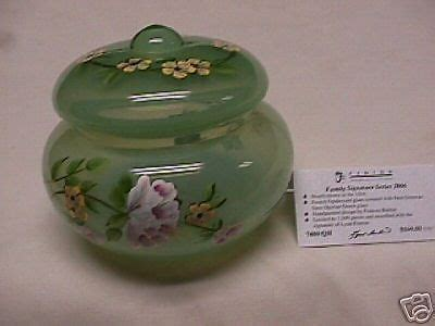 FENTON HAND PAINTED OPALINE GREEN COVERED CANDY BOX #7480