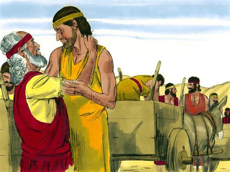 FreeBibleimages :: Joseph reunited with his family :: When