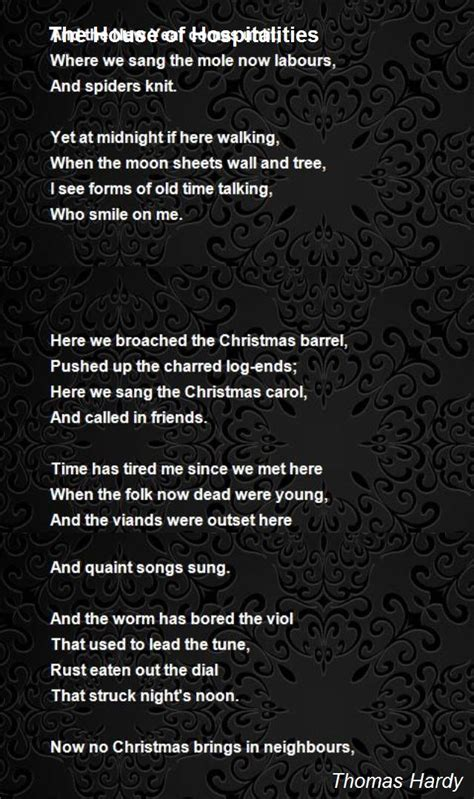 The House Of Hospitalities Poem by Thomas Hardy - Poem Hunter