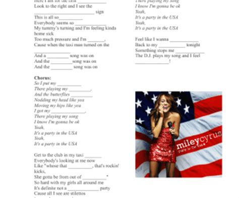 Song Worksheet: Party in the USA by Miley Cyrus