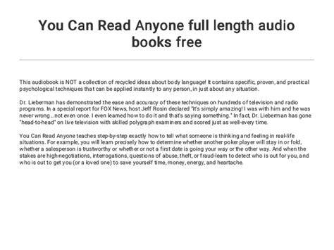 You Can Read Anyone full length audio books free