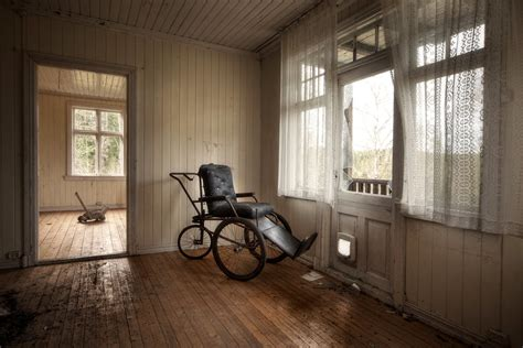 house of the strange wheelchair   Small abandoned house in