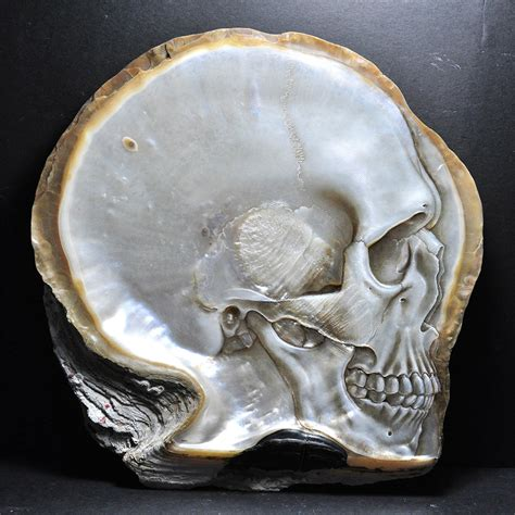 Mother of Pearl Shell Skull Carvings by Gregory Halili