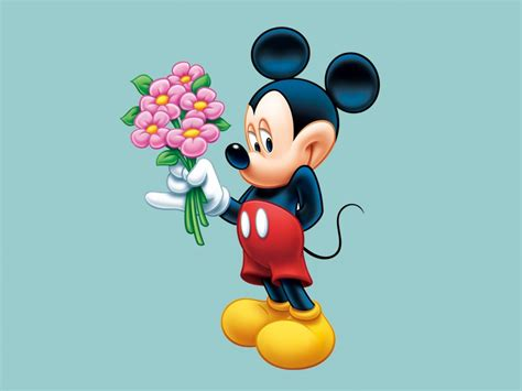 Mickey Mouse With A Bouquet Of Flowers For Desired Desktop